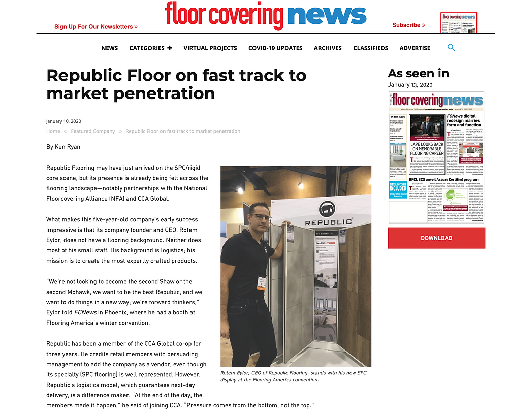 Republic Floor on fast track to market penetration