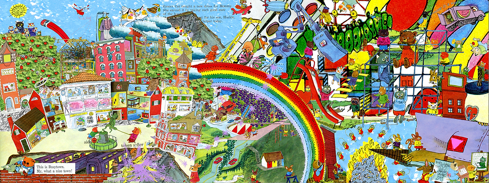 "A rectangular compositon fills the page. The image depicts charachters from Richard Scarry's ""What Do People Do All Day"" and ""The Best Word Book Ever"" in two groups. On the left side of the compsition, charachters ""hypnotized"" by hegemony try to rebuild their world, which is being joyfully broken up by the charachters from the right side of the page. A large rainbow seperates the two worlds. The left side of the composition is very chaotic, and contains queer positive and leftist messages."