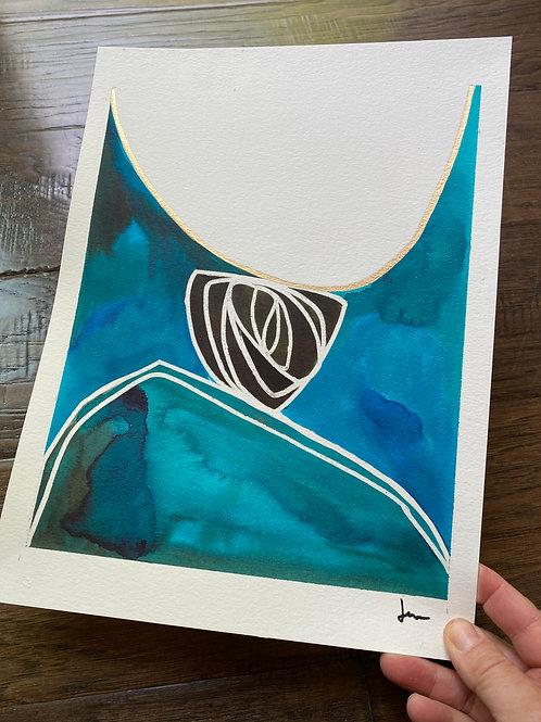 Teal Ink on Paper 2