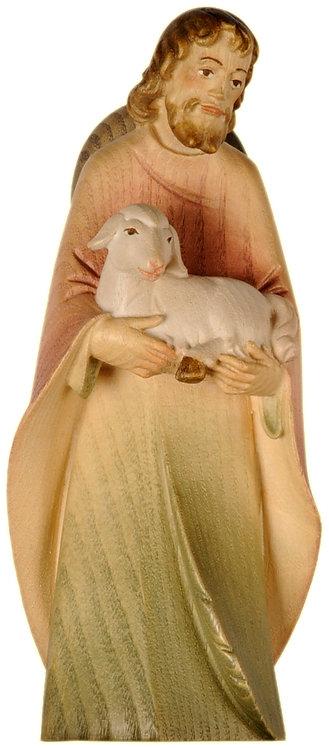 Hirt mit Schaf, auf dem Arm.