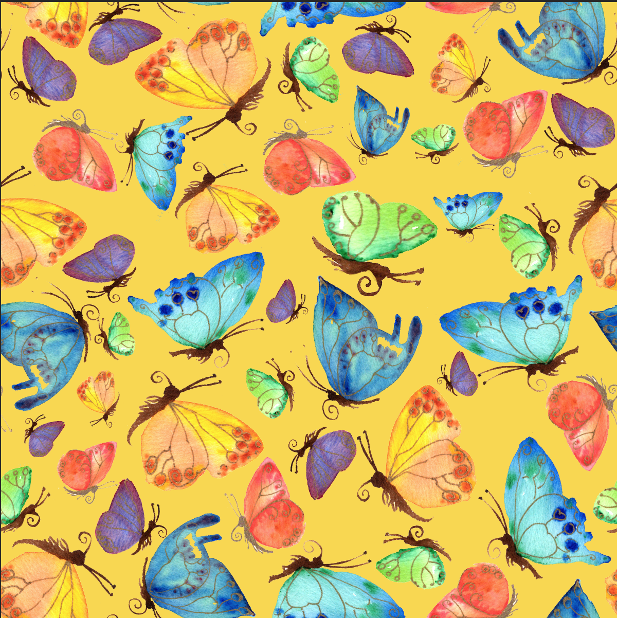Flitting Butterflies on gold