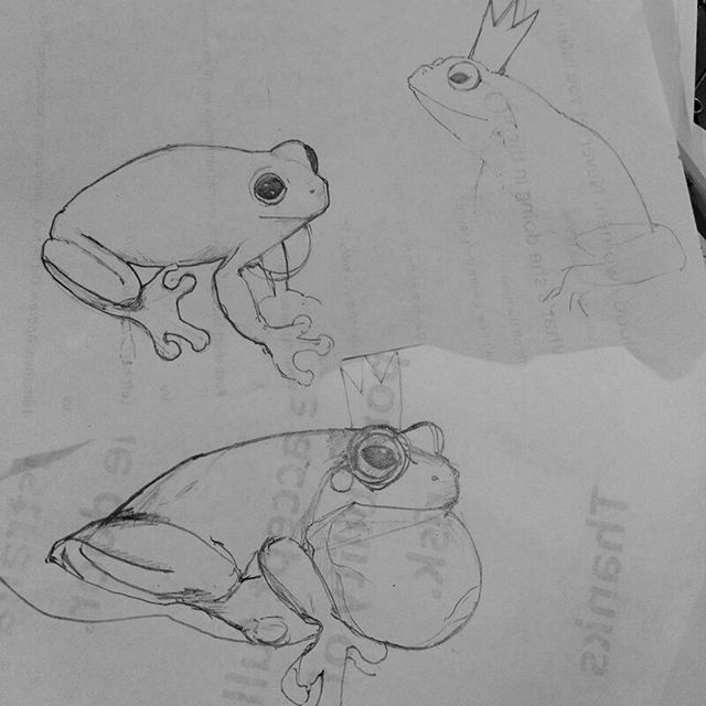 Some frog sketches to help with designing a frog king silhouette