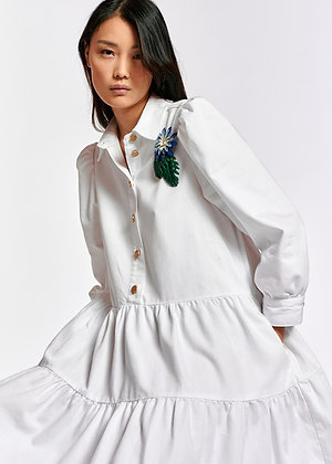 Robe en jeans blanche Essentiel