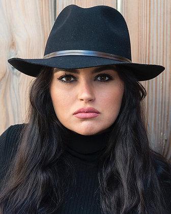 Chapeau feutre noir lien cuir brun