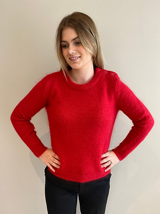 Pull CERISE col rond rouge Orfeo