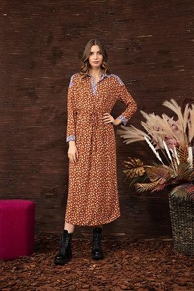 Longue robe print mini girafe cognac Imprevu