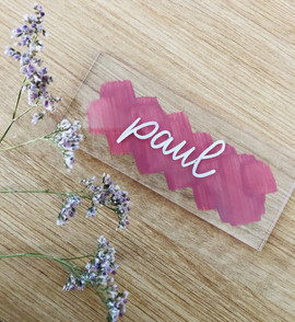 Marque-place mariage rose