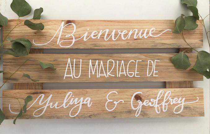 Pancarte personnalisée calligraphie décoration mariage