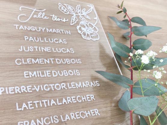 Plan de table mariage calligraphie