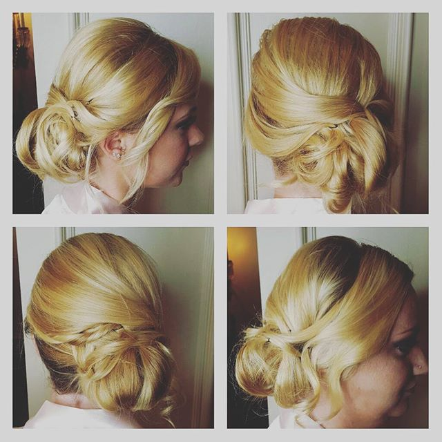 Sisters! Two bridesmaids from yesterday.  Soft side swept updo.jpg