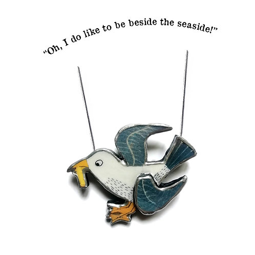 Naughty Chip Pinching Seagull Necklace