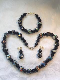 Vintage 1930s Beads with Black Onyx VN96ES42SET
