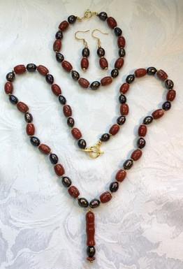 Bronze Pearls and Orange Vintage Beads PP92CBS14SET