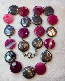 Bronze Coin Pearls and Agate Beads MX14S15SET