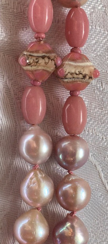 Baroque Lilac Edison Pearls and Vintage Pink Glass Beads PP194SE30SET