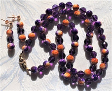 Ceramic Spatter Beads and Amethyst Stones VN211F35SET