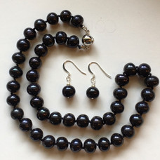 Off-Round Dyed Black Freshwater Pearls FW216S30SET