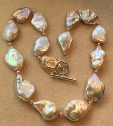 Large Baroque Pale Peach and White Freshwater Coin Pearls FW81S66