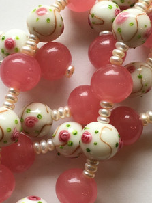 Pink Glass Vintage Beads with Button Seed Pearls PP224ES26SET