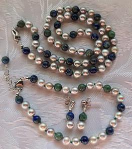 Grey Pearls and Lapis Lazuli Beads  PP169FS65SET