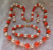 White Round Edison Pearls and Trailed Coral Pink Glass Vintage Beads PP167SE52SET