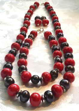 Grey Pearls and Red Vintage Beads PP90ES24SET
