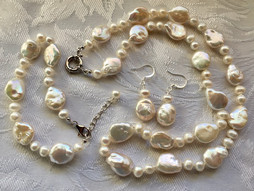 White Baroque Freshwater Coin and Off-Round Pearls FW180S28SET