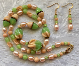 Apricot Pearls and Vintage Glass Beads  PP173SE29SET