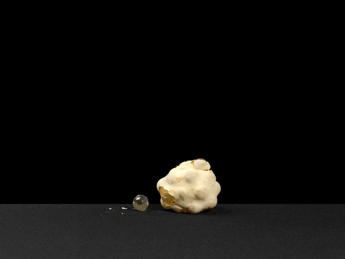 A third example of the marbles in balloons. These are, by far, the most fragile models still extant in the Pauling Papers
