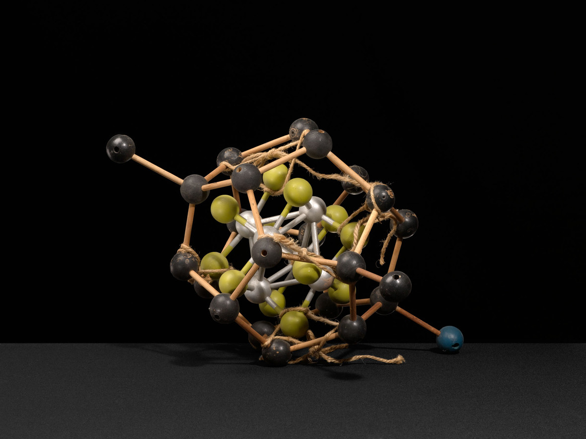 """A """"tinker toy"""" molecular structure with rope"""