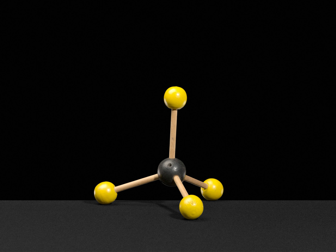 Ball and stick model of the methane molecule