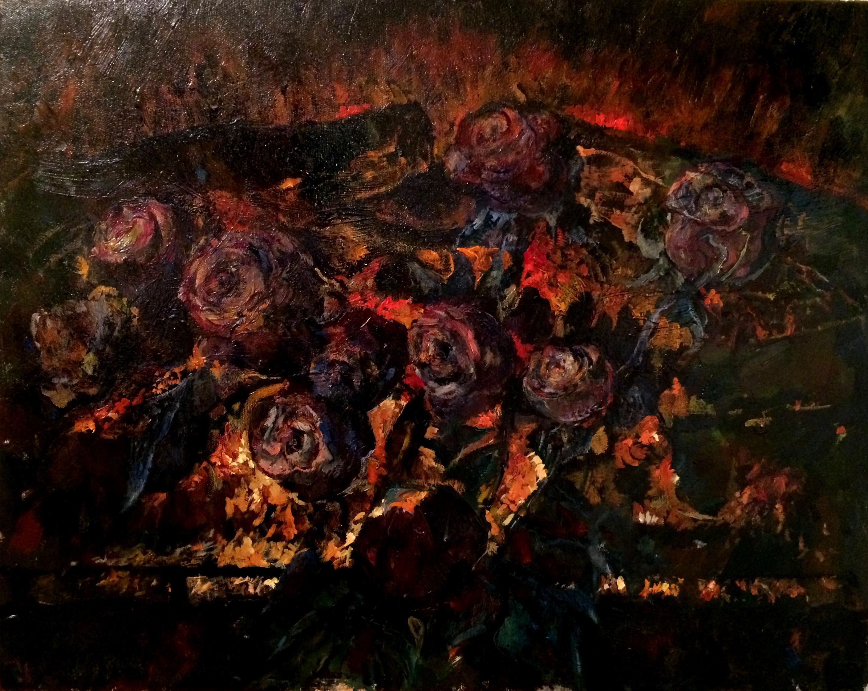 Вечерние розы у камина