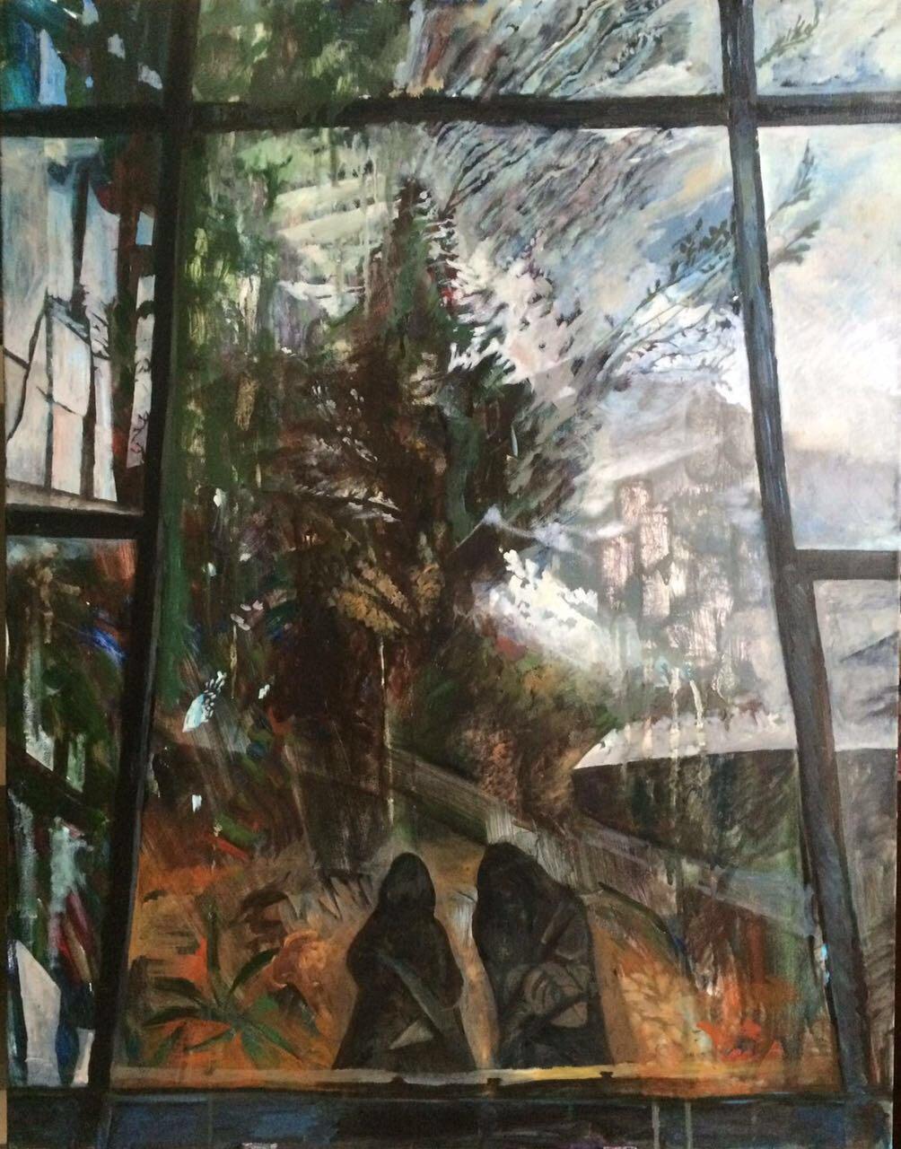 Отражение в оранжерее