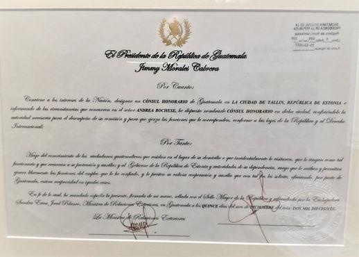 Patente Consul Honorario de Guatemala en Estonia