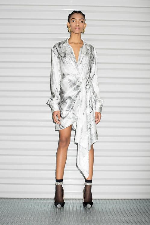 Silk Marble Asymmetric Mini Dress