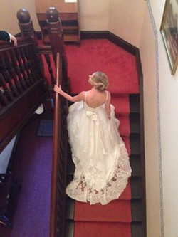 Bride retiring for the evening.