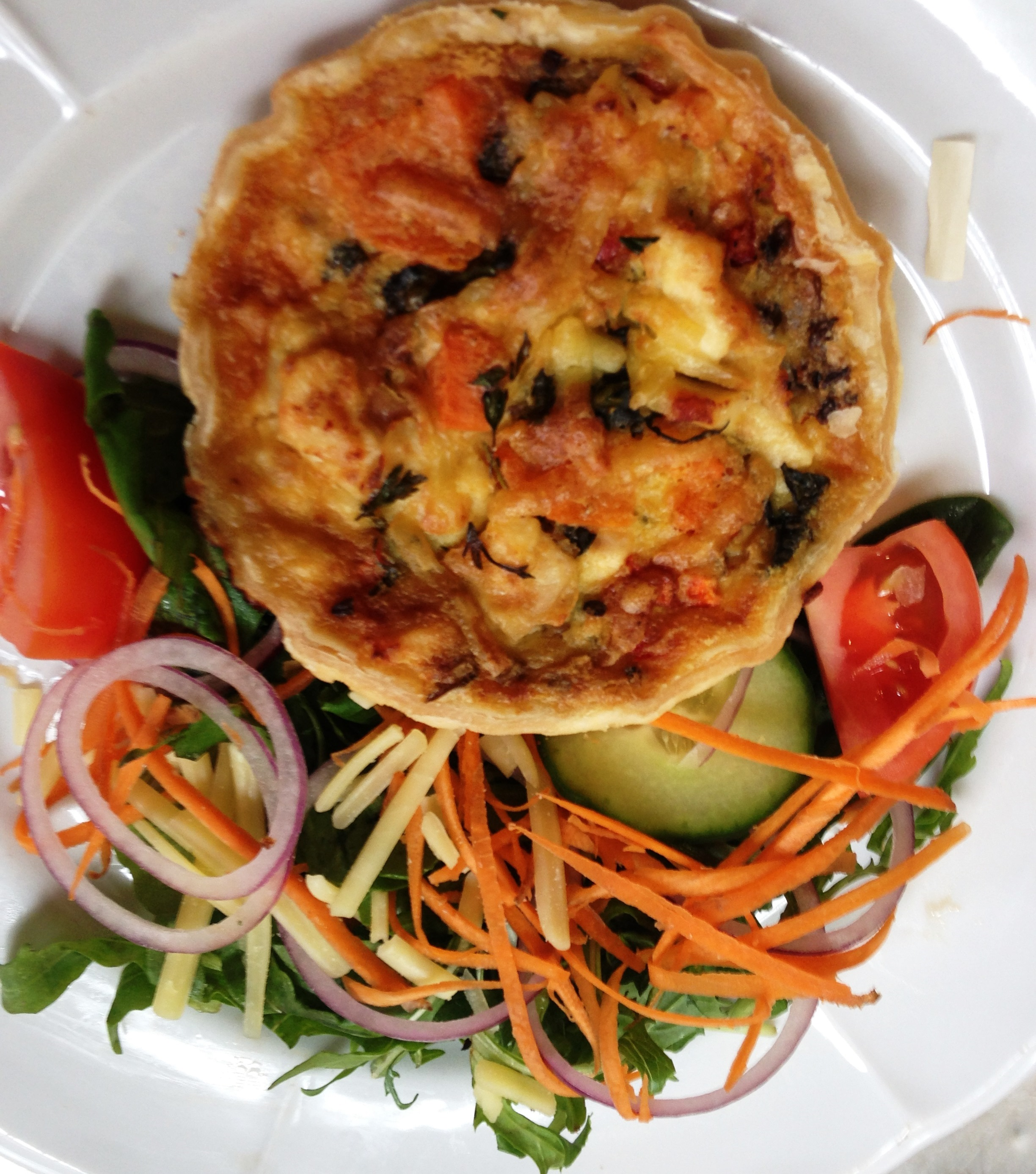 Quiche & salad lunch.