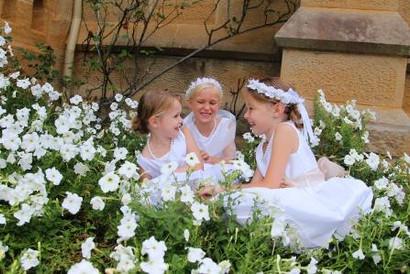 Flower girls in the garden.