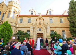 Ceremony at the front of the house.