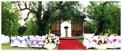 Gazebo rainbow wedding ceremony Abbey of the Roses