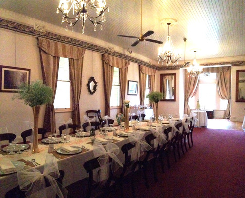 A long table set up for your intimate wedding.