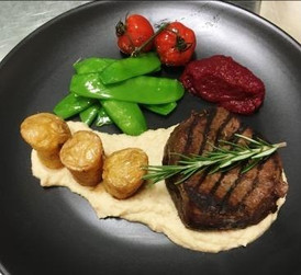 Eye fillet with seasonal vegetables