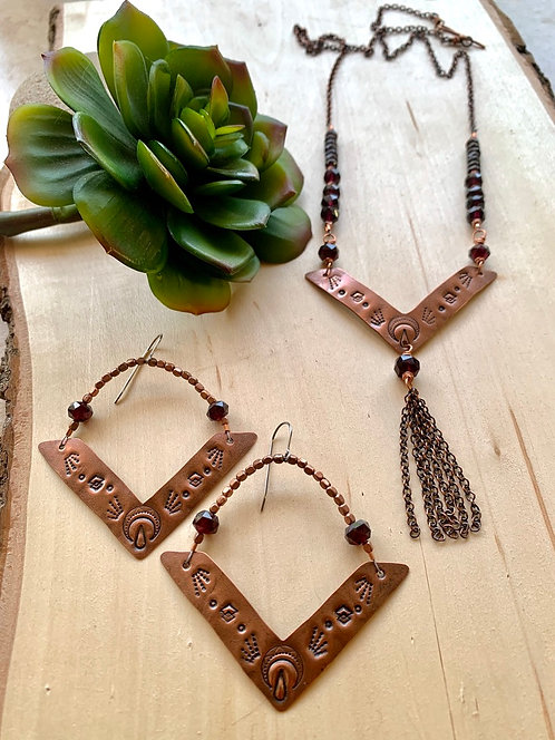 Copper Creations: Garnet Necklace and Earrings