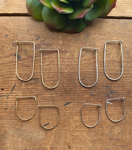 Hammered Hoops: Long Rounded Earrings