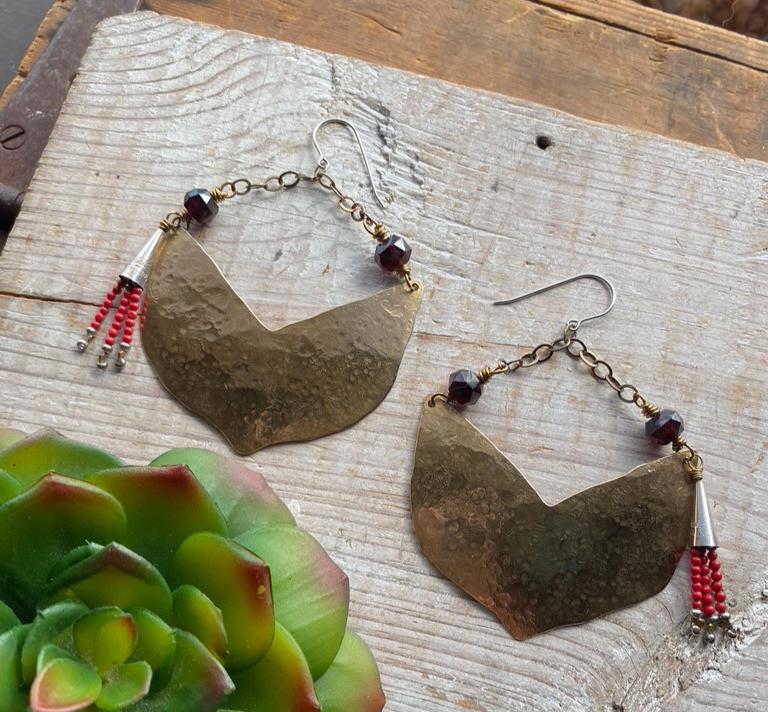 Handcrafted Brass Elements Earrings in Garnet & Coral