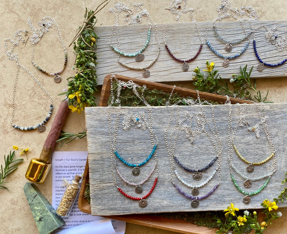 Silver Elements Necklaces by Christina Holland Designs. Growth Ritual by Snail & Wren of The Ninth House.