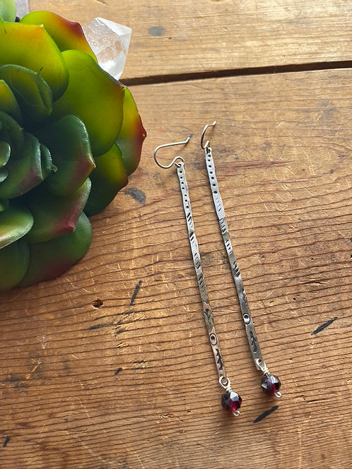 Sticks & Stones: Garnet & Silver Earrings