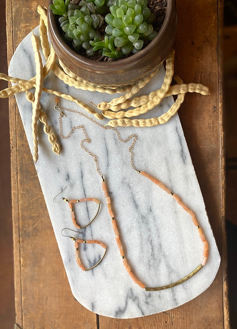 "Sticks & Stones ""Mesquite Beans"": Peach Quartz & Brass Necklace"