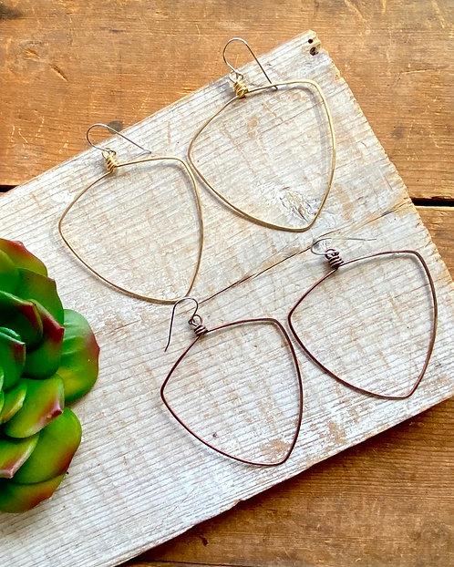 Hammered Hoops: Triangle-Shield Earrings