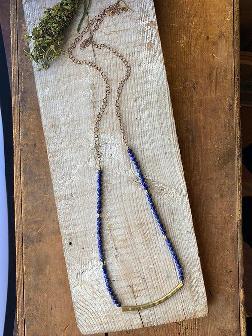 "Sticks & Stones ""Mesquite Beans"": Lapis Lazuli & Brass Necklace"